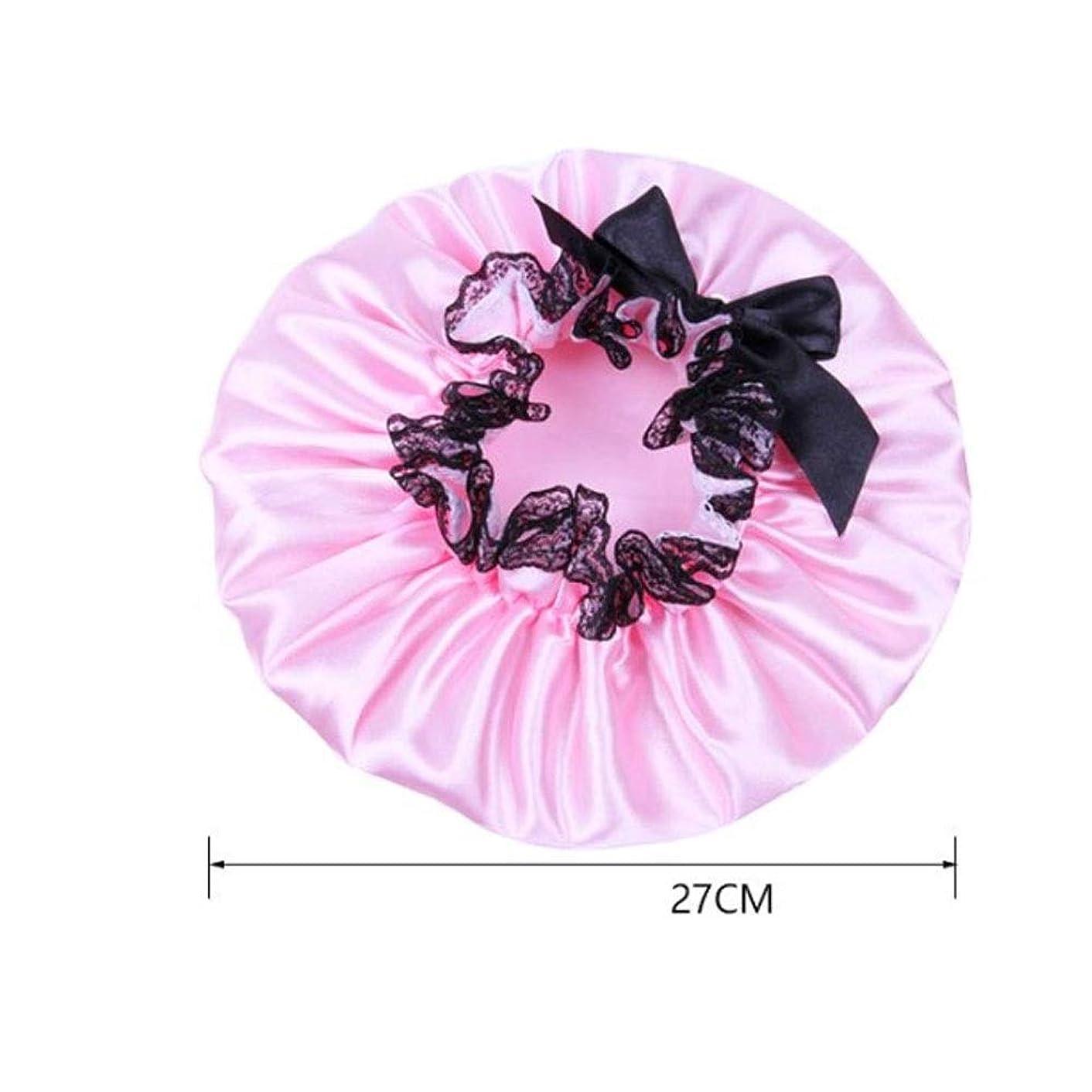 嫌がる上列車シャワーキャップ、レディースシャワーキャップレディース用のすべての髪の長さと太さのデラックスシャワーキャップ - 防水とカビ防止、再利用可能なシャワーキャップ。 (Color : Pink)