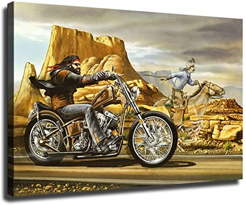 Ghost Rider David Mann Motorcycle on Canvas Oil Painting Posters and Prints Decorations Wall Art Picture Living Room Wall Ready to (Framed,16x24 inch)