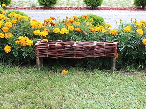 Wicker Garden Bed Border Fencing - 10cm high - Made in EU - 60 cm length (60x20 cm)