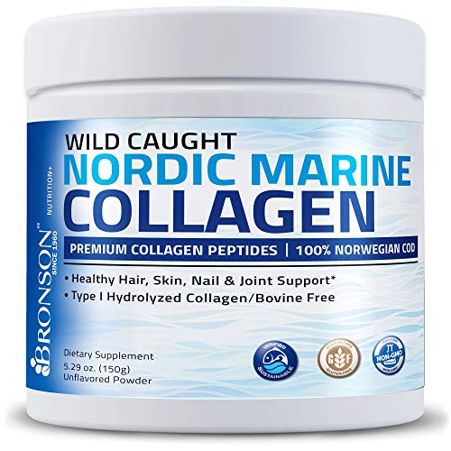 Bronson Marine Collagen Peptides Hydrolyzed Protein Powder 100% Wild Caught Nordic Cod Verified Sustainable Source for Joints Skin Hair Nails & Bones 150g (5.29oz)