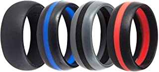 Jude Jewelers 4 Pack Silicone Rubber Wedding Engagement Ring Sports Crossfit Gym Athletes Exercise