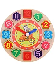 AM ANNA Wooden Teaching Time Clock Toys Shape Sorting Games Learning Number Tools Lacing Beads Education puzzle Toy