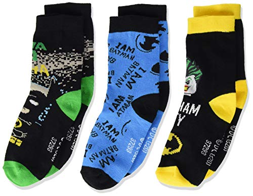 LEGO Batman 3-Pack Socks Paquete de 3 Calcetines, 995, 28/30 para Niños