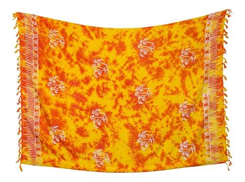 Kascha Sarong Pareo Wickelrock Strandtuch Tuch Wickeltuch Handtuch - Blickdicht - ca. 170cm x 110cm - Rot Gelb Batik mit Palme Motiv Handgefertigt inkl. Kokos Schnalle in runder Form
