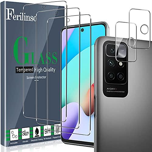 Ferilinso Entworfen für Xiaomi Redmi 10 Panzerglas, 3 Stück HD Klar Schutzfolie mit 2 Stück Kamera Panzerglas, Hülle Fre&lich, Kameraschutz, Bildschirmschutzfolie, 9H Festigkeit