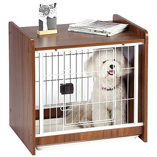 ウディサークル 木製 ドッグサークル ドッグケージ ペット用ケージ 犬ハウス 室内 インテリア 屋根付き トレー付き お手入れ簡単 超小型犬/小型犬向け 62Lx48.5Wx59H