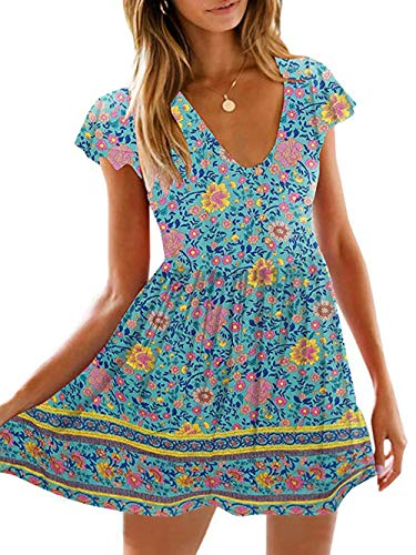 KIRUNDO Women's 2020 Summer Hot Short Sleeve V-Neck High Waist Floral Print Mini Boho Sun Dress with Button (Small, Aqua)