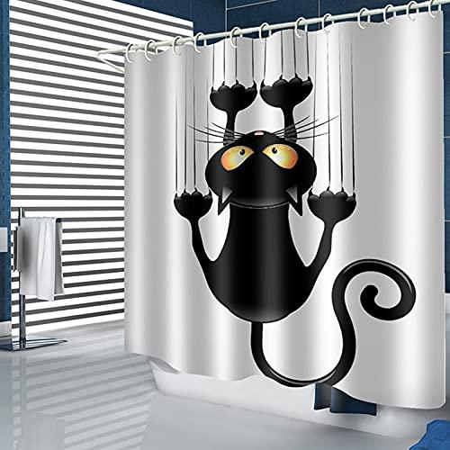 LANGING - Tenda da doccia a forma di gatto con ganci, colore: Nero
