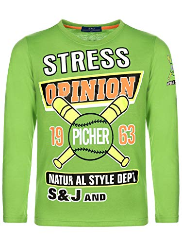 Kinder Jungen Pullover Langarm-Shirt Pulli Sweater Motiv Druck Rundhals 30133 Grün 110 bis 116