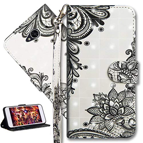 HMTECH LG Xpower 2 Case 3D Black Cactus Flower PU Leather Wallet Flip with KickStand Card Holder Bookstyle Magnetic Closure Cover for LG Xpower 2,Black Cactus Flower