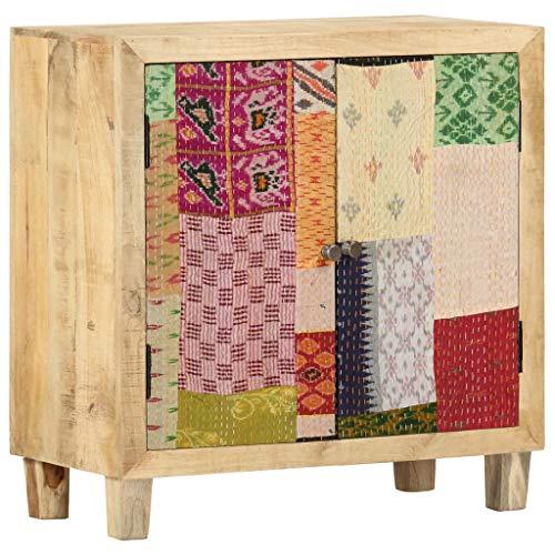 Anrichte Sideboard Mehrzweckschrank Highboard Schubladenkommode Flurschrank, für Diele, Wohnzimmer Esszimmer Diele, Patchwork 70×35×75 cm Mango Massivholz