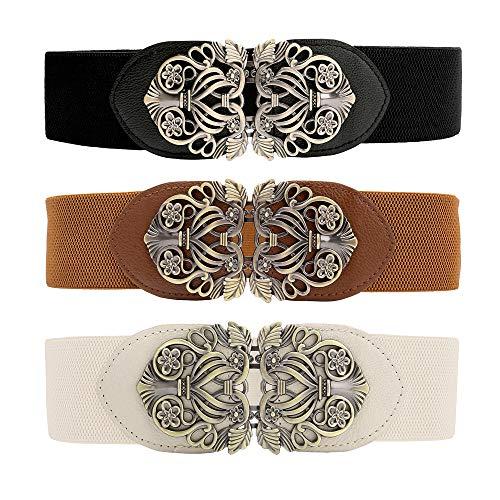 CHIC DIARY Damen Vintage Breiter Taillengürtel mit Metall Schnalle Stretch Gürtel Retro Hüftgürtel Elastische Kleidgürtel