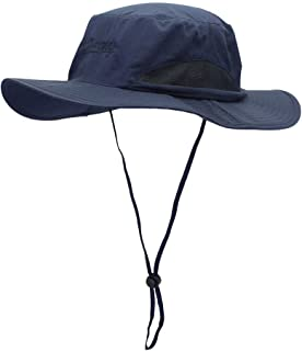ABOOFAN Outdoor UV Protection Oval Bucket Hat with Cord Summer Fisherman Hats with Wide Casual Sunhat for Men Women (Blue)