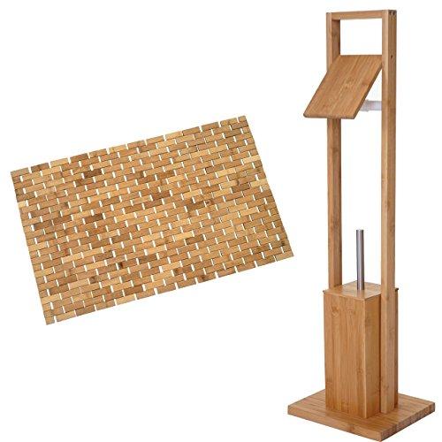 Arredo bagno serie HWC-B18 legno bambu set portarotolo e tappetino 79x50cm