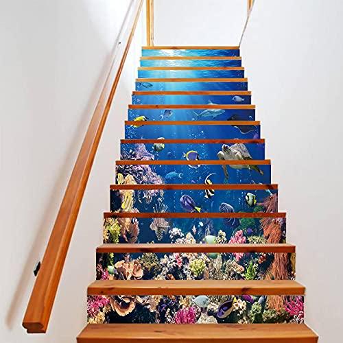 tzxdbh losetas vinilo para escaleras Fondo del mar azul coral pescado 100CMx18CMx13pieces(39.3'w x 7'h x 13pieces) Escalera de moqueta autoadhesiva, Calcomanías para escaleras 3D Cocina Piso Decoració