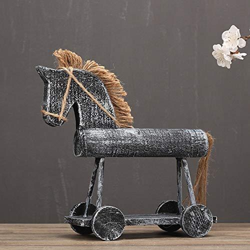 YIYINGSI Scultura Statua,Vintage Legno Hobby Horse Modello Fatto A Mano Legno A Dondolo Grande Cavallo in Miniatura Carpenteria Ornamento Regalo Regalo Accessori Artigianali Arredamento