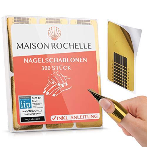 MAISON ROCHELLE® [300 Stück] Nagelschablonen selbstklebend (inkl. Anleitung) I Nagel Schablone für Gelnägel I Nagelform für Nailart | Gel Nail Stencil