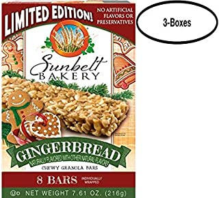 Sunbelt Bakery Gingerbread Chewy Granola Bars, 1.0 oz Bars, 8 Count Per Box, 3 Boxes