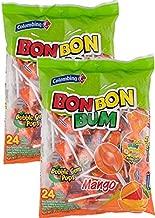 Colombina Bon Bon Bum Bubble Gum Filled Lollipops Mango Flavor 17oz 2 Pack