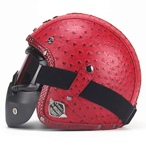 3/4 Open Face Motorradhelm mit Sonnenblende Moto Helm Elektro Fahrradhelm Roller Motorradhelm Maske Mundfilter