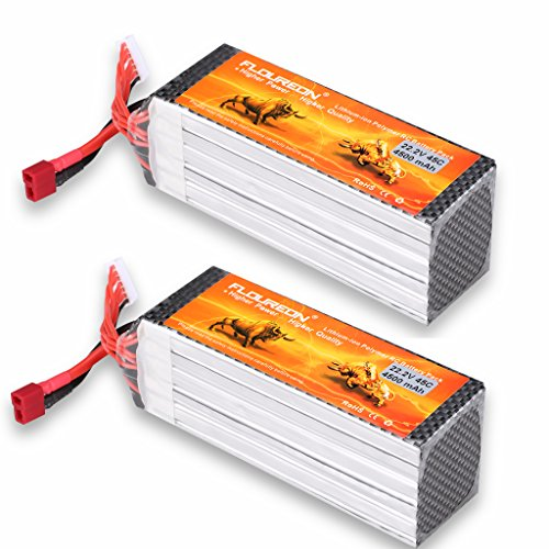 FLOUREON 6S 22.2V 45C 4500mAh RC Battery Lipo Battery Pack with Deans T Plug for RC Airplane Helicopter UAV Drone FPV,RC Evader BX Car, RC Truck, RC Truggy(2-Packs)