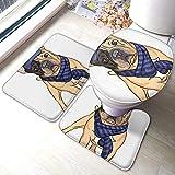 Juego de 3 piezas de alfombra de baño para asiento de inodoro, diseño de perro con forma de U, diseño de hipster
