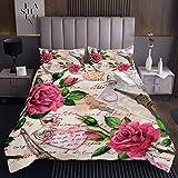 Paris Thema Bettüberwurf Romantische Rose Blumendruck Tagesdecke 220x240cm für Mädchen Frauen Eiffelturm Wohndecke Valentinstag Steppdecke Ultra weich 3St
