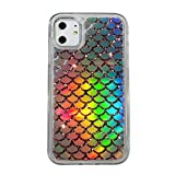 Easeu Holographic Mermaid iPhone 11 Case,Transparent Heavy Duty Hybrid Quicksand Color Changing Phone Cover for iPhone 11 6.1 inch