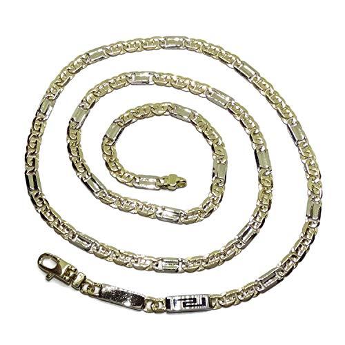 Cadena de Oro Macizo Blanco y Amarillo de 18k para Hombre, de 4.00mm de Ancha y 60cm de Larga. Modelo Ojo de Perdiz Peso; 23.05gr de Oro de 18k.