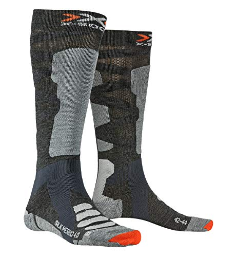 X-SOCKS Chaussettes Ski Silk Merino 4.0 Chaussettes de ski Homme Anthracite/Gris FR : M (Taille Fabricant : M(39-41))