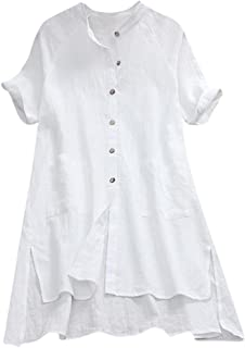 Womens Buttons T Shirt Ladies Asymmetrical Tops Loose Tunic Blouse