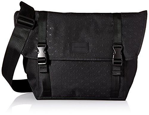 Armani Exchange Herren Messenger Bag Dobby Nylon All Over Logo, schwarz, Einheitsgröße