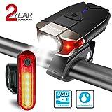 ITSHINY Set di luci per Bicicletta Batteria Ricaricabili e luci LED Impermeabili per Moutain Bike, Kit di fanali- luci Anteriori e Posteriori combinate USB (Black)