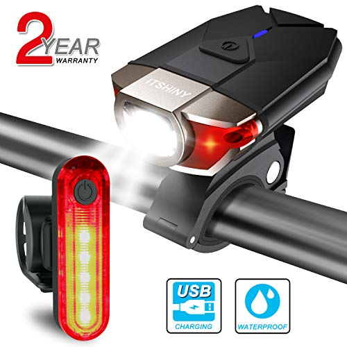 ITSHINY Set di luci per Bicicletta Batteria Ricaricabili e luci LED Impermeabili per Moutain Bike, Kit di fanali- luci Anteriori e Posteriori combinate USB (Black)