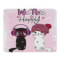 かわいい猫のマウスパッド黒と赤い帽子陽気な感情的なパーソナライズされたデザイン滑り止めラバーマウスパッド長方形マウスマットデスクトップノートブックマウスパッド9.5x7.9インチ