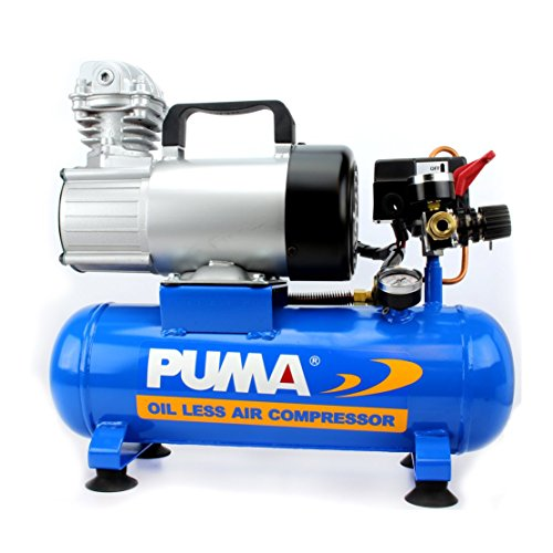 Puma Industries PD1006 Air Compressor, Professional D.C. Direct Drive Oil-Less Series, 0.75 hp Running, 135 Maximum psi, 12V/Phase, 1.5 gal, 31 lb.