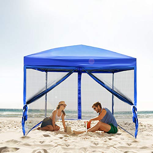 Best Sunshine Canopy Tent Mesh Walls Outdoor Easy Pop Up Party Tent Sun Shade Shelter 10 x 10 ft