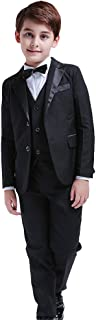 5Pcs Boys Suits Formal Blazer Classic Fit Tuxedo Set Wedding Party Black Suit