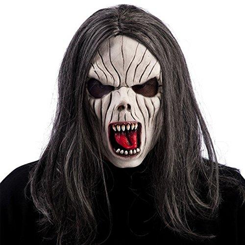 Masque Vampire Latex et Perruque Grise Adulte - Halloween Deguisement - 179