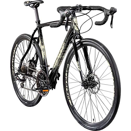 "Galano Cyclocross 700c Gravel Bike Cross Fahrrad Rennrad 28"" Gravel Trail 14Gang (anthrazit/Creme, 55 cm)"
