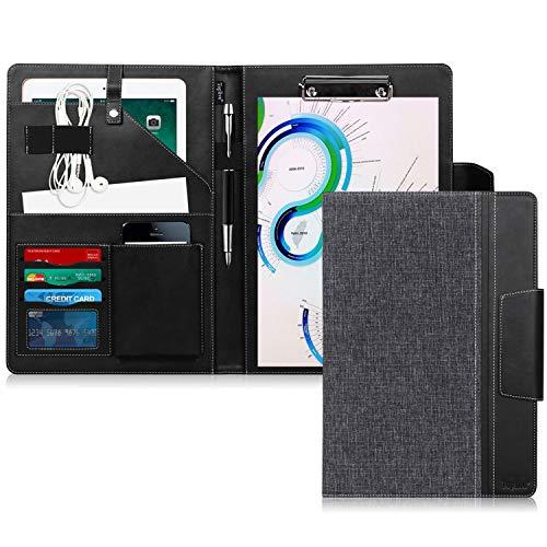 Toplive Portfolio A4 en cuir PU, porte document, portfolio cuir Magnetique Range Documents Porte-bloc pour réunion/bureau/carte de visite professionnel/dossier de conférence,Noir