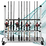 LUXHMOX Fishing Rod Holder,Portable Fishing Rod Rack, Fishing Pole Stand Rack Storage Holds Up 24 Any Type of Rods or Fishing Rod Combos (Black)
