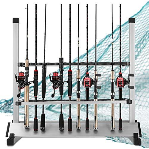 LUXHMOX Fishing Rod Holder,Portable Fishing Rod Rack, Fishing Pole Stand Rack Storage Holds Up 24 Any Type of Rods or Fishing Rod Combos (Black)