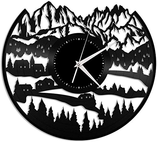 XYVXJ Reloj de Pared con Disco de Vinilo de 30 cm, Regalo Decorativo de Moda Hueco para Sala de Estar, Dormitorio, Escuela, decoración, Alpes Berg