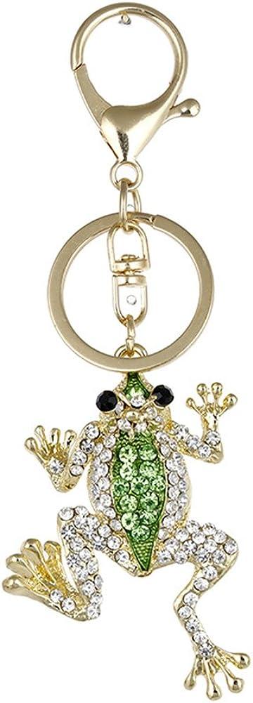 Academyus Fashion Frog Metal Rhinestone Keyring Keychain Car Key Holder Bag Pendant Gift