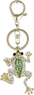 cuiyoush Schlüsselanhänger aus Metall, Frosch, künstlicher Strass, für Autoschlüssel, Tasche, Anhänger, Dekoration, Grün