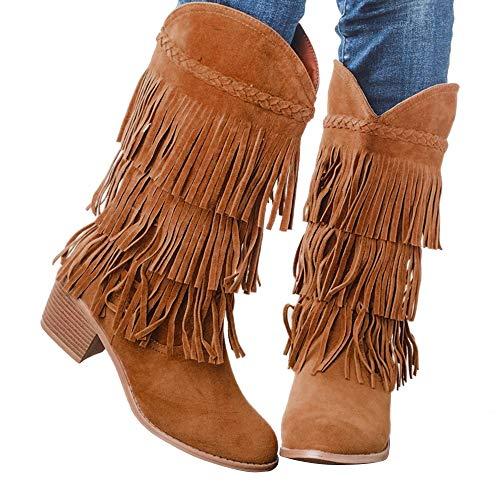 Puimentiua Botines de Tacón Alto con Flecos Borlas para Mujer Botas Altas Las Rodillas Alto Slip-on Zapatos de Invierno Otoño