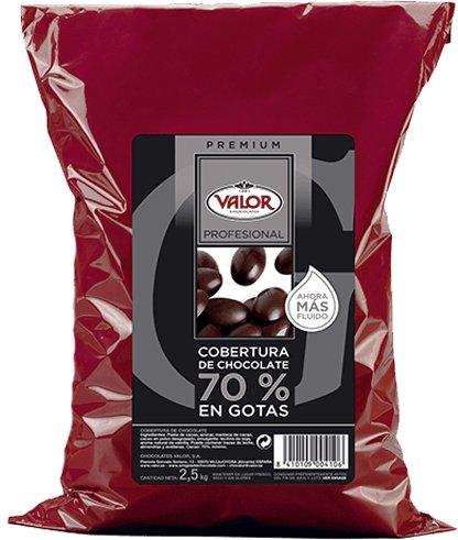 Cobertura de Chocolate 70% en Gotas - Valor. Pack 2,5 Kg