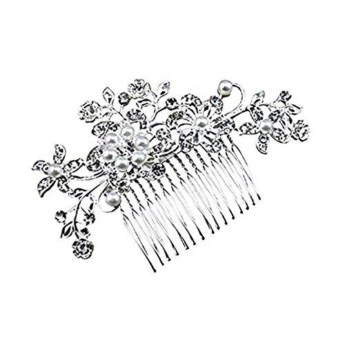 Little Sporter Women Lady Bridal Junfer Wedding Crystal Decorative Beads with Flowers and Leaves Style Hair Comb Head Wear Headdress Headdress Hair Ac
