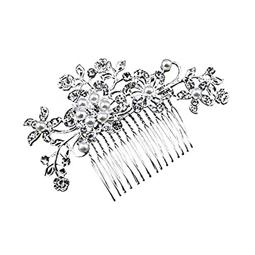 Little Sporter Women Lady Bridal Junfer Wedding Crystal Decorative Beads with Flowers and Leaves Style Hair Comb Head Wear Headdress Headdress Hair Accessories Silver
